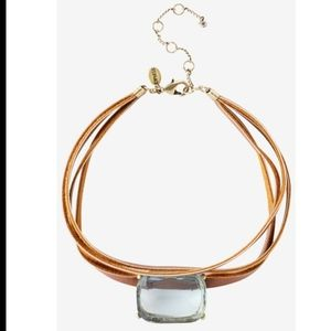 Express Faux Leather Stone Choker Necklace